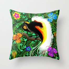 Paradise Bird Fire Feathers Throw Pillow