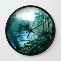 woods Wall Clocks featuring woods  by mark ashkenazi