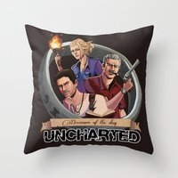 uncharted Throw Pillows featuring Dreamers of the Day by Sketchy-Nic