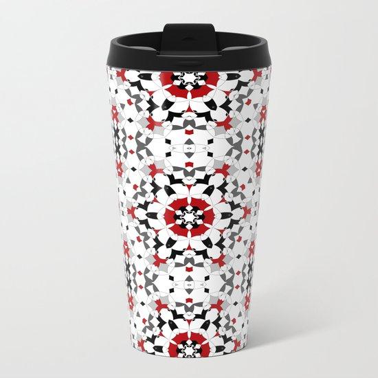 Ornament red , black , white Metal Travel Mug