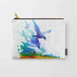 Birds flying. Sea, ocean waves. Gulls, colorful watercolor realistic panting. Blue water.. Carry-All Pouch