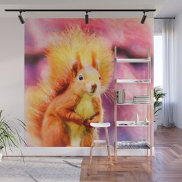 squirrel digital oil paint dopstd Wall Mural