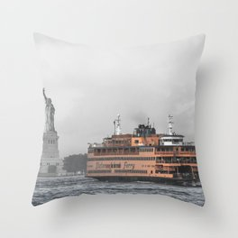 Liberty & The Boat Throw Pillow