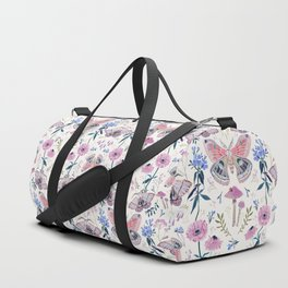 Lilac Butterfly and Flowers Duffle Bag
