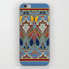 Grey-Burgundy Color & Yellow Art Nouveau Butterfly Design iPhone Skin