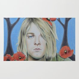 Kurt C Poppy Flower design II colored pencil (more prints/products available) Rug