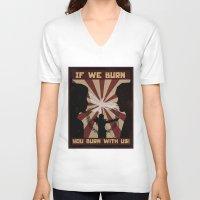 mockingjay V-neck T-shirts featuring Mockingjay by nellfoxface