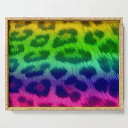 Rainbow Leopard Print Pattern Design Serving Tray
