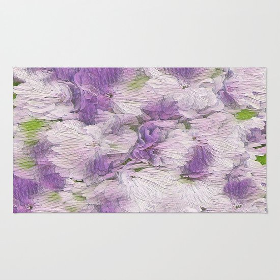 Purple Lavender Fluffy Floral Abstract Rug By Judy