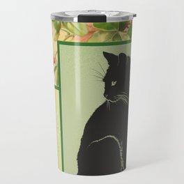Patchwork Flowers and Cat Travel Mug