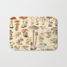 Trippy Vintage Mushroom Chart // Champignons by Adolphe Millot XL 19th Century Science Artwork Bath Mat