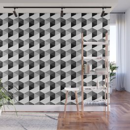 Trippy Gray Scale Hexagon Pattern Cubism - Digital Illustration Artwork Wall Mural
