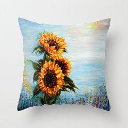 Sunflowers! Where Ocean meets Sky Throw Pillow
