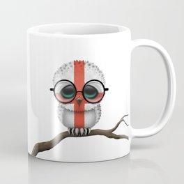 Baby Owl with Glasses and English Flag Coffee Mug