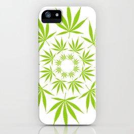 Cannabis Leaf Circle (White) iPhone Case