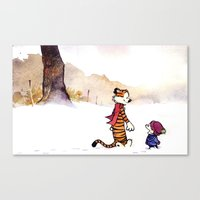 hobbes Canvas Prints featuring Calvin and Hobbes 1# by Frank Deuce