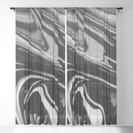 Black and white swirl Sheer Curtain