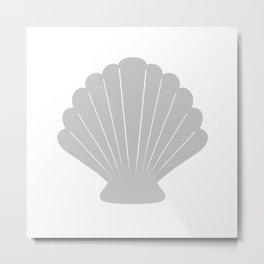 Seashell (Gray & White) Metal Print