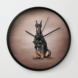 Drawing Doberman dog Wall Clock