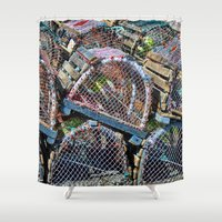 cage Shower Curtains featuring Lobster cage by Claude Gariepy