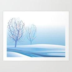 Winter Scene with Barren Trees and Stream Art Print