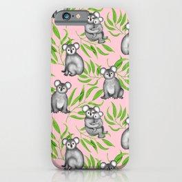 Koala Pattern Charitable Art (Pink Background) iPhone Case
