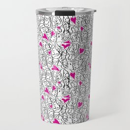 Elios Shirt Faces with Valentine Hearts in Black Outlines with Hot Pink Hearts Travel Mug