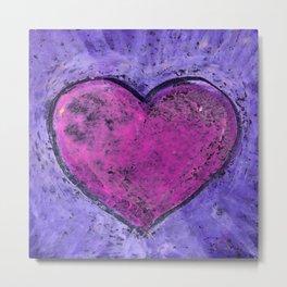 Valentines day. Big pink heart on purple background. Oil pastel. Metal Print