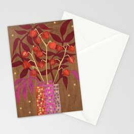 Chinese Lanterns, Physalis, Paper Collage Papercut Autumn Flowers Abstract Floral Stationery Cards