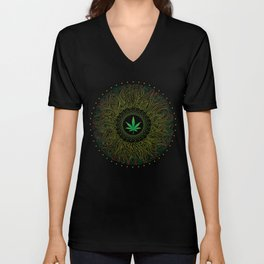 Magic plant. Marijuana leaf. mandala Unisex V-Neck
