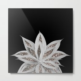 Gray Agave with Silver Glitter #1 #shiny #tropical #decor #art #society6 Metal Print