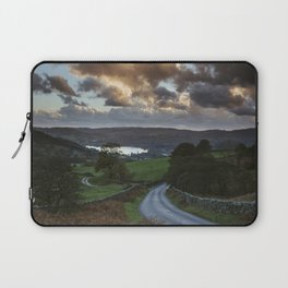 Steep mountain road 'the struggle' at sunset, with Lake Windermere beyond. Lake District, UK. Laptop Sleeve