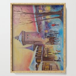 Winter in the old town Street scene Old City Christmas illustration Oil painting Serving Tray