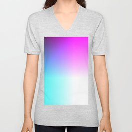 Blue Purple Pink and White Ombre Ocean Unisex V-Neck