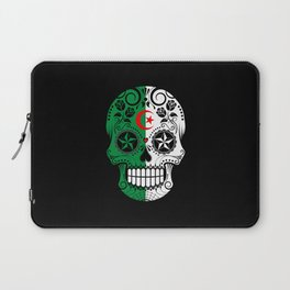 Sugar Skull with Roses and Flag of Algeria Laptop Sleeve
