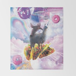 Space Sloth Riding Llama Unicorn - Taco & Donut Throw Blanket