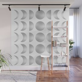Silver Moon Phase Pattern Wall Mural