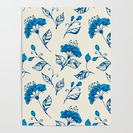Doodle flowers in blue Poster