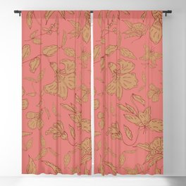 Coral Classic Floral Blackout Curtain