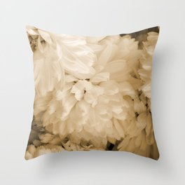 Monochrome Abstract Mums Throw Pillow