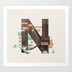 Resort Type - Letter N Art Print