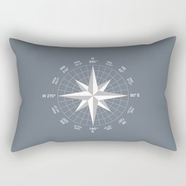 Compass in White on Slate Grey color Rectangular Pillow
