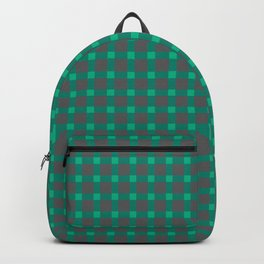 Green gray , plaid Backpack