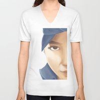 tupac V-neck T-shirts featuring Makaveli Aiko by Rey Lallave
