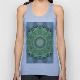 Ornamented mandala in green and blue colors Unisex Tank Top