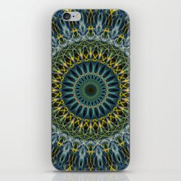 Blue and yellow mandala iPhone Skin