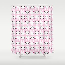 Super Cute Kawaii Bunny and Panda (Pink) Shower Curtain