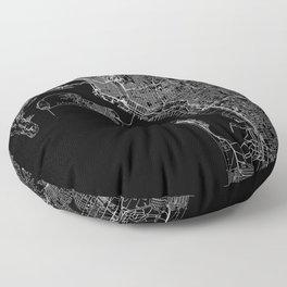 San Diego Black Map Floor Pillow