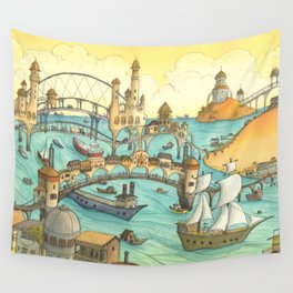 Ship City Wall Tapestry