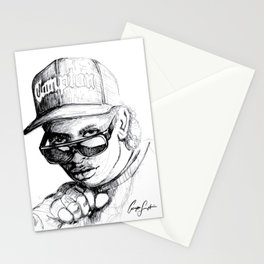 Digital Drawing #34 - Easy E in Black & White Stationery Cards
